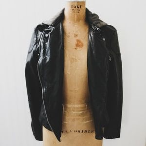 Free People Vegan Leather Distressed Hooded Jacket